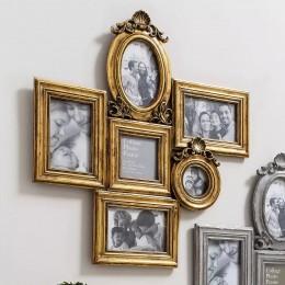 Családi galéria aranyszínű keretben