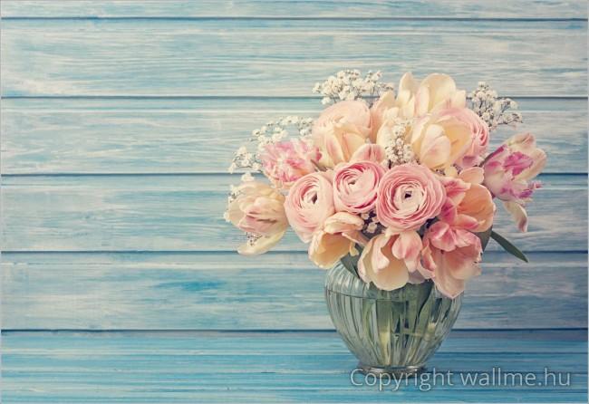 Romantikus virágcsokros kép vidékies és türkiz-kék látványvilággal