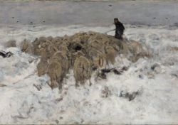 Anton Mauve - Flock of sheep with shepherd in the snow