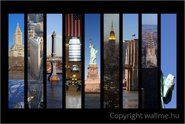9 fotóból készült New York néhány nevezetességét bemutató fotókollázs
