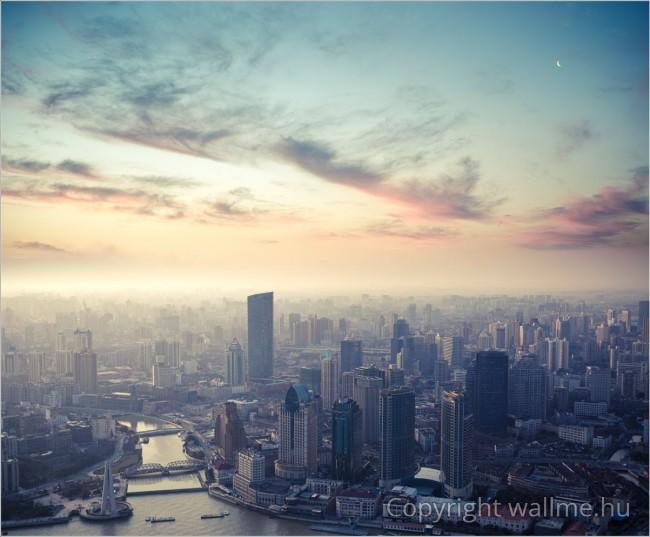 Egy ébredező nagyváros színei. Shanghai madártávlatból.