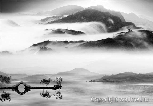 Meditatív fekete-fehér kínai tájkép