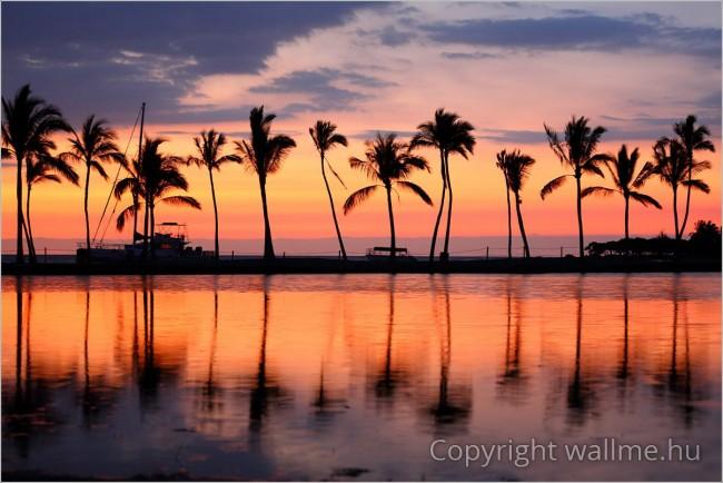 Hawaii A Nagy Sziget naplementés panoráma fotó