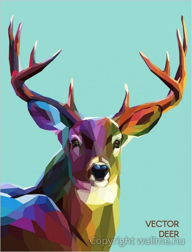 Állati portré, sokszögű geometriai formákból.