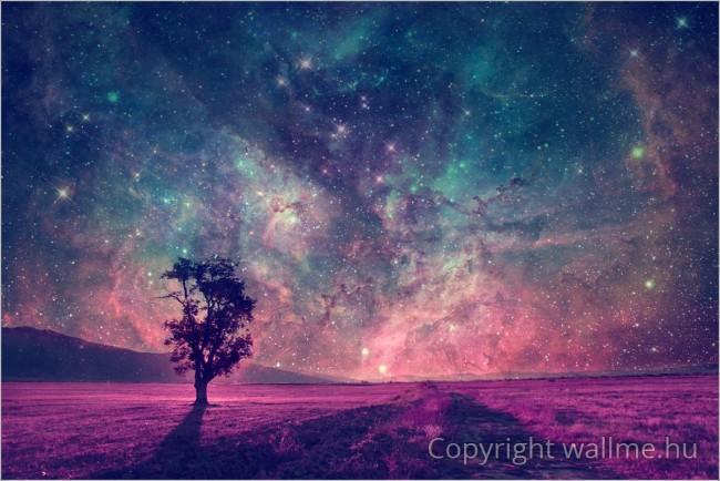 Egyedileg megkomponált táj természetfotóból és NASA fotóból.