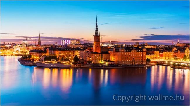 Éjszakai panoráma fotó Stockholm óvárosáról