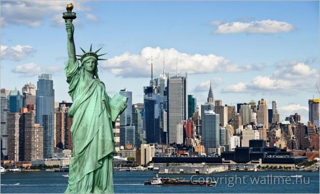 New York jelképe, a Szabadság szobor fotó kompozíció