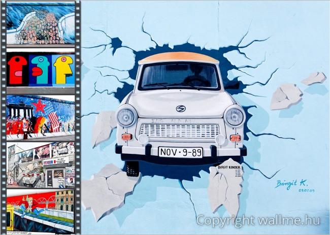 Fotó kollázs a Berlini fal propaganda graffitikről